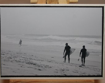 ACEO, ATC, Artist Trading Card, black and white surfers on the beach, photograph