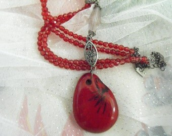 Vintage Necklace - crystal, resin, ruby, upcycled