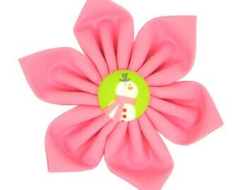 Pink Christmas Dog Collar Flower, Snowman Dog Collar Accessory: Snow-woman