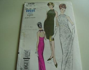 Vintage 1960's Vogue 5950 Special Design Dress Sewing Pattern, Size 10, Bust 31