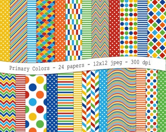 Primary colors digital scrapbooking paper pack -24 printable jpeg papers, 12x12, 300 dpi - instant download