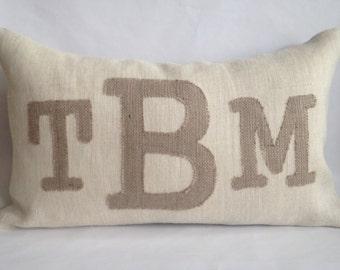 Monogram Cream And Natural Burlap Pillow Cover 16x26