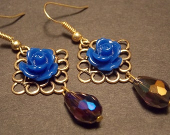 Blue and Gold Victorian Rose Earrings