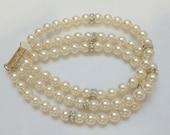 Swarovski Cream Pearl and Crsytal Bracelet, Triple Strand Bridal Bracelet