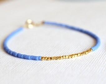 Gold Filled Bracelet - 14kt Gold Filled Bracelet - Blue Beaded and Gold Vermeil Bracelet - Minimalist Bracelet