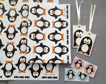 Penguin Wrapping Paper, Gift Tags And Stickers - Children's Wrapping Paper - Kids Gift Wrap Set - New Baby And Christmas Wrapping Paper