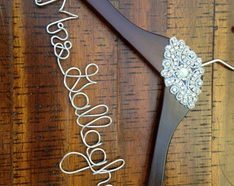Wedding Dress Hanger, Bride Hanger, Bridal Hanger, Rhinestone Glam Personalized Hanger, Vintage Wedding Hanger, Custom Bride, Gatsby Wedding