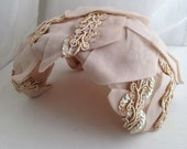 1940s vintage organza champaign colored bridal hat with sequin and lace trim
