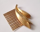 vintage bridal comb, gold plated, leaf, head piece - style 58