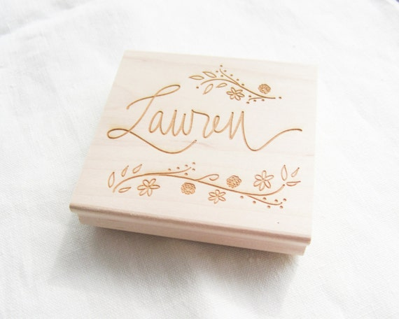 Custom Calligraphy Stamp -  custom stamp hand lettered with your name, phrase or saying