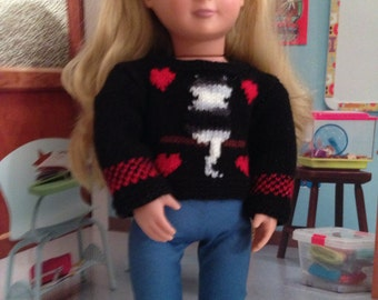 Kitty Hearts Valentines Sweater for 18 in doll