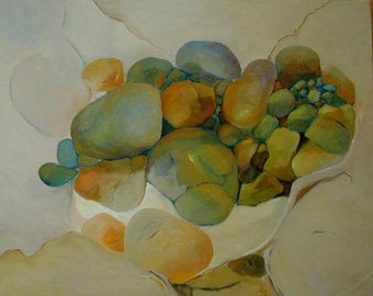 """Original oil painting Stones are bones of the earth 16""""x20"""" Jan Smiley"""