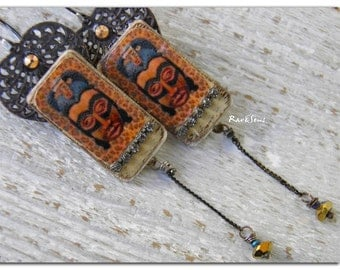 Bohemian earrings-hippie ~Tribal Fashion~ image on weathered wood-rhinestone-crystal and lace oxidized metal