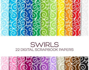 Swirls Digital Paper Pack - Scrapbook Printable Wedding Background - Rainbow High Resolution Paper - P00045