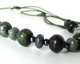 Michigan Leland Bluestone Sliding Stone Adjustable Necklace