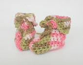 Baby Girl Camouflage Booties  3 To 6 Months Infant Boy  Pink Green Brown Camo Slippers