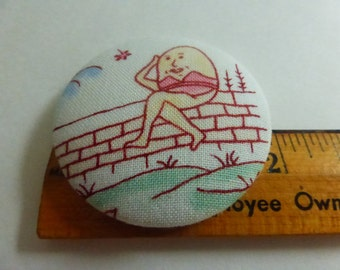 1 7/8  Inch Fabric Covered Studio Button Nursery Rhyme Humpty Dumpty