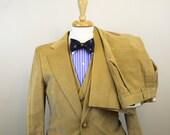 """Magnum PI  - Mens Vintage - 3 Piece Tan Corduroy Suit -  Vintage 70s  - Mens Sz. 38"""" / 32"""""""