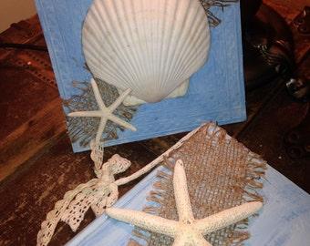 SEA SHELL/Star Fish - CEILING Tin - Burlap - Beach Decor - Rustic Decor- Wall Hanging - Seashell - Coastal Decor
