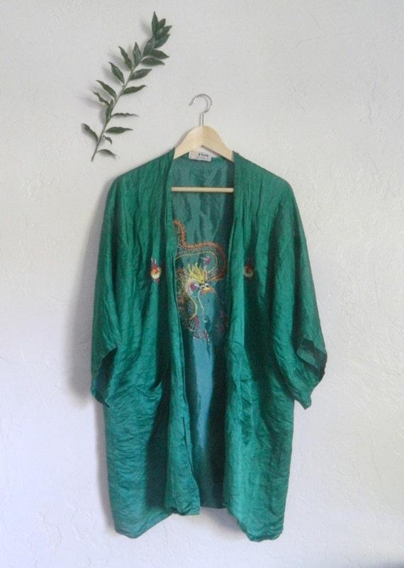 Green Silk Kimono Jacket // one size