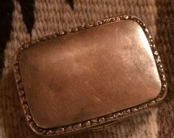 Old Handmade Sterling Silver Pill Box