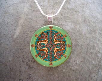 Celtic Jewelry - Glass Pendant Necklace - Celtic Decoration 15 - RETIRING 2017