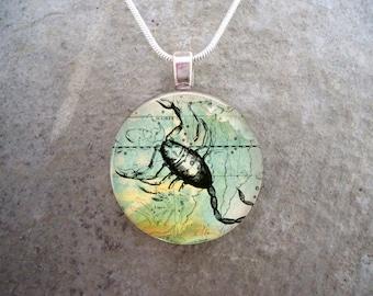 Scorpio Jewelry - Glass Pendant Necklace - Victorian Horoscope