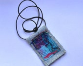 Pendant Pink Turquoise & Blue Stitched Fabric