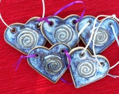heart shaped ornament with large swirl design, rutile blue glaze,stoneware, decoration, gift decoration, reusable