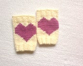 Yoga leg warmers, knitted boot cuffs, in ivory with pink hearts, Winter Fashion, gift for her, valentines gift