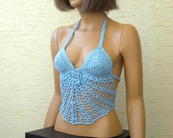 Crochet womens bra, blue hippie halter, sexy top, crochet halter top, crochet tank, white crop tank, laced top, crochet summer halter top