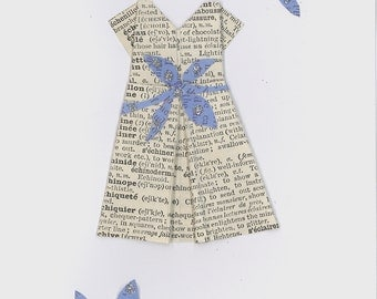 Paper Origami Dress with Glitter leaves and branches