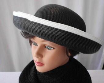 Vintage  Black & White Straw Betmar  HAT
