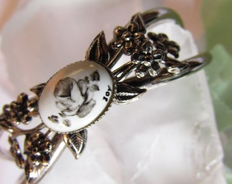 BRACELET vintage SILVER with PORCELAIN painted rose and the word Joy