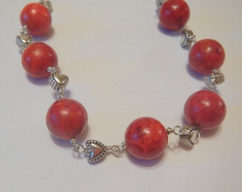 Red Sponge Coral Necklace Wire Wrapped with Silver Hearts