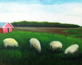 Oil painting on canvasboard realism landscape on the country side 5x7 in