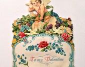 Victorian Mechanical Die Cut Embossed Valentines Card Cupid 20s Vintage