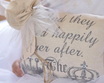 And They Lived Happily Ever After Ring Bearer Pillow by Burlap and Linen Co