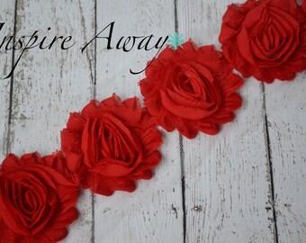 RED Shabby Chiffon Flower Trim - Your choice of 1 yard or 1/2 yard -  Chiffon Shabby Rose Trim, DIY headband supplies,