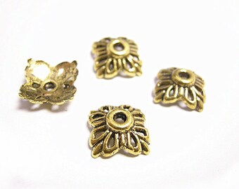 12pc antique gold finish 12mm flower shape bead caps-8273