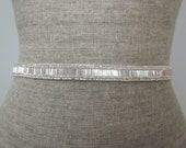 Skinny Silver Beaded Wedding Sash / Belt, Simple Bugle & Seed Bead Sash