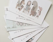Illustrated Animal Postcards Set of 6 for Encouragement: Hedgehog, porcupine, penguin, lamb, bear, dog, beaver.