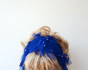Dark Blue Headband, Boho Head Scarf ,  Elastic Tülle, Women's Fall Accessory, Hair Scarf, Hair Accessories,  For Women