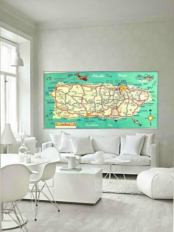 Puerto Rico Map Art Print 10x20 Photograph By Vintagebeachmaps