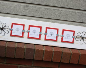 Picture Frame - Distressed Wood - Holds 4 - 3x3 Photos - with 2 Wire Flowers - White & Red