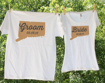 Connecticut Bride & Groom with date // two shirts