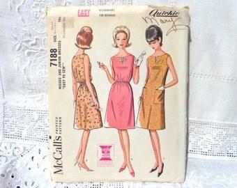 Vintage McCalls Dress Pattern 7188 Size 9 10 11 1964