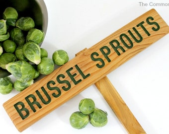 BRUSSEL SPROUTS Garden Sign, Painted & Oil Sealed Cedar Wood: Hand Routed Sign, Vegetable Plant Garden Marker, Custom Garden Sign