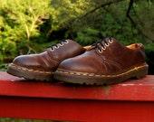 Dr Martens Shoes 1980s Vintage Doc Martens Four (4) Eye Brown Leather Greasy Doc Martens Size UK 6 Doctor Martens Oxfords Made In England
