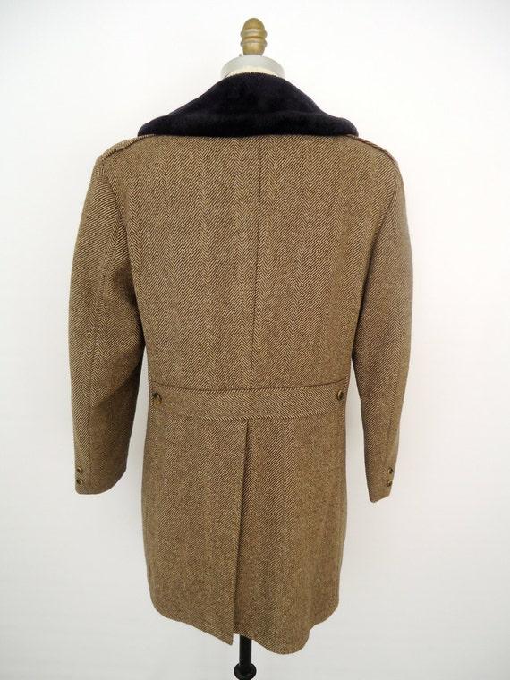 Tweed Amp Fur Collar Coat Vintage Brown Herringbone Wool